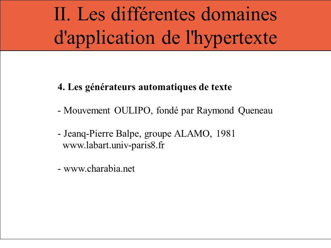 II. Les différentes domaines d'application de l'hypertexte 4. Les générateurs automatiques de texte - Mouvement OULIPO, fondé par Raymond Queneau - Je