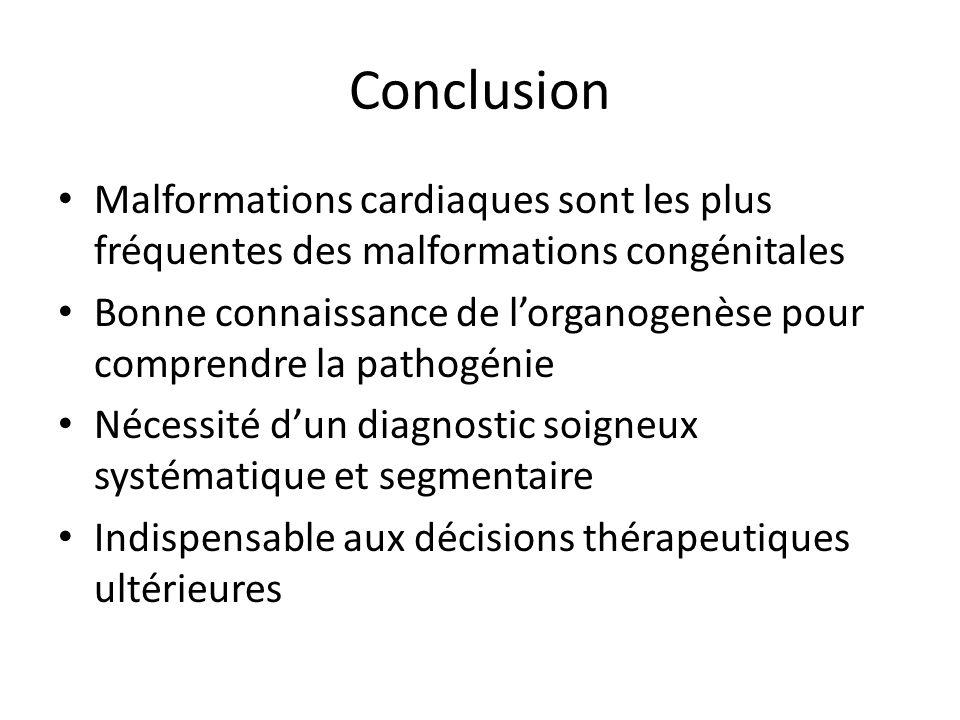 Conclusion Malformations cardiaques sont les plus fréquentes des malformations congénitales Bonne connaissance de lorganogenèse pour comprendre la pathogénie Nécessité dun diagnostic soigneux systématique et segmentaire Indispensable aux décisions thérapeutiques ultérieures