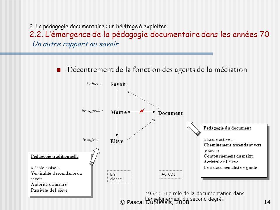 © Pascal Duplessis, 200814 2. La pédagogie documentaire : un héritage à exploiter 2.2. Lémergence de la pédagogie documentaire dans les années 70 Un a
