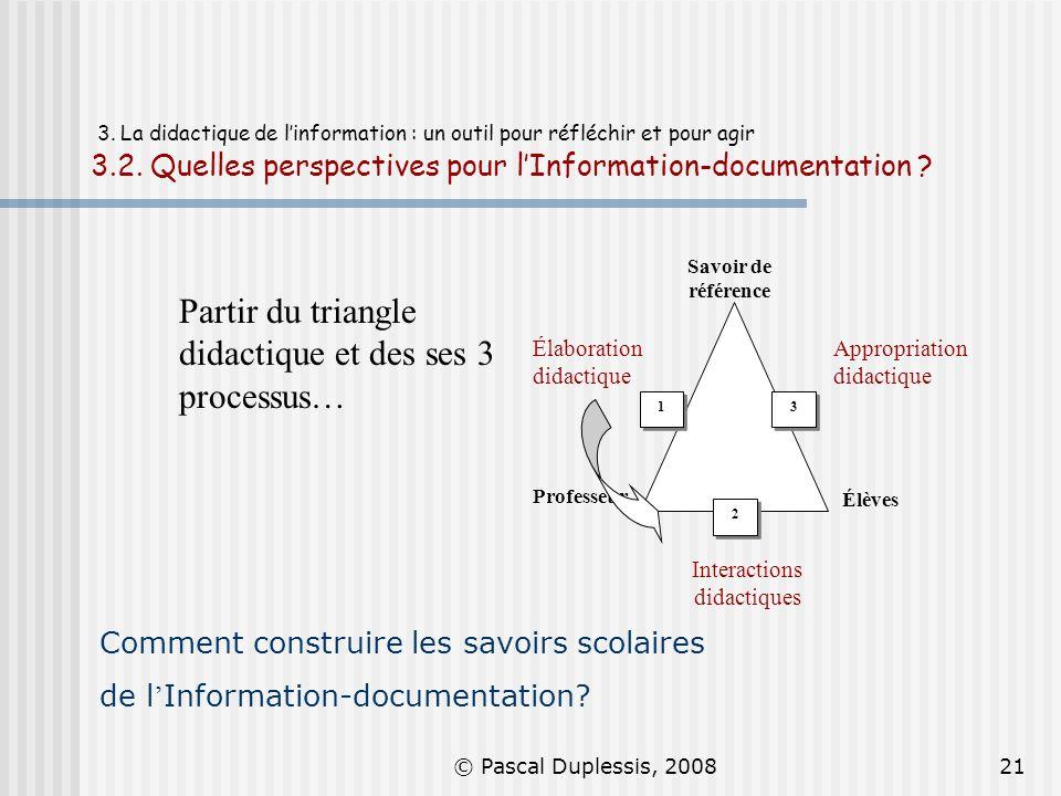© Pascal Duplessis, 200821 3. La didactique de linformation : un outil pour réfléchir et pour agir 3.2. Quelles perspectives pour lInformation-documen