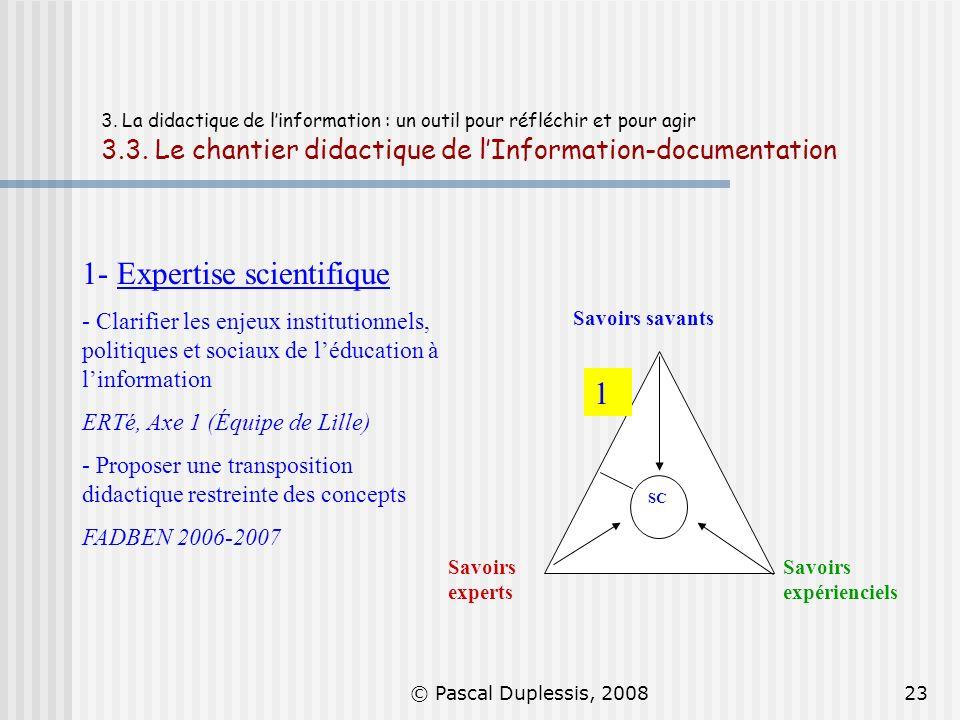 © Pascal Duplessis, 200823 3. La didactique de linformation : un outil pour réfléchir et pour agir 3.3. Le chantier didactique de lInformation-documen