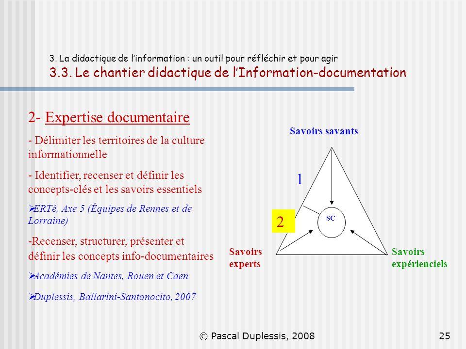 © Pascal Duplessis, 200825 3. La didactique de linformation : un outil pour réfléchir et pour agir 3.3. Le chantier didactique de lInformation-documen