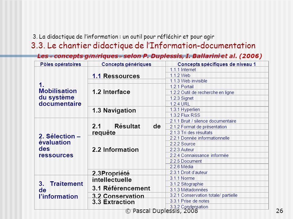 © Pascal Duplessis, 200826 3. La didactique de linformation : un outil pour réfléchir et pour agir 3.3. Le chantier didactique de lInformation-documen
