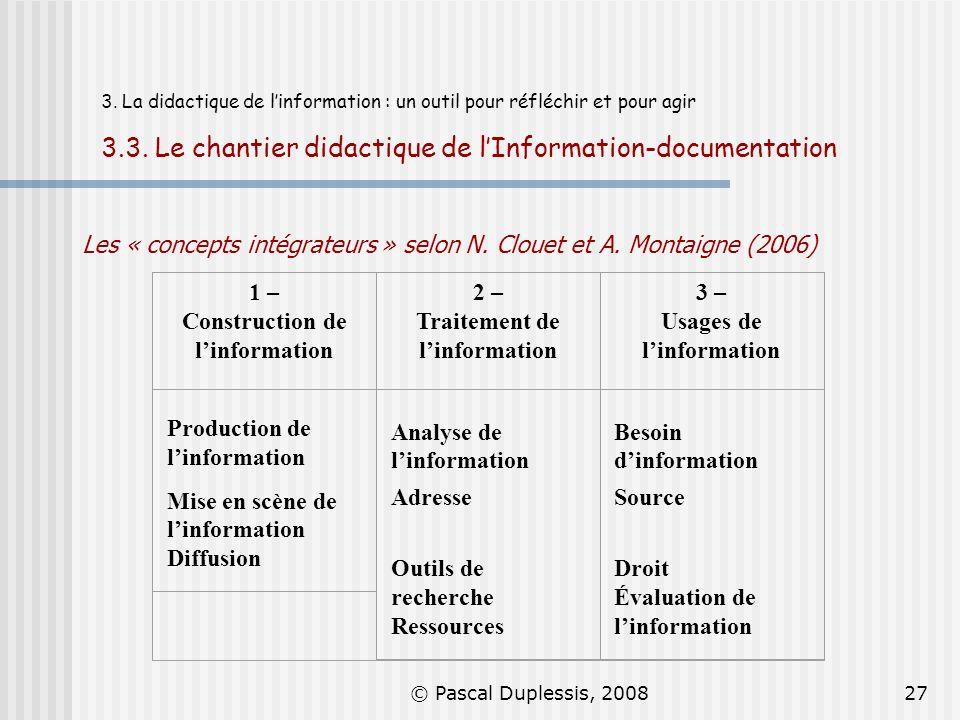 © Pascal Duplessis, 200827 3. La didactique de linformation : un outil pour réfléchir et pour agir 3.3. Le chantier didactique de lInformation-documen