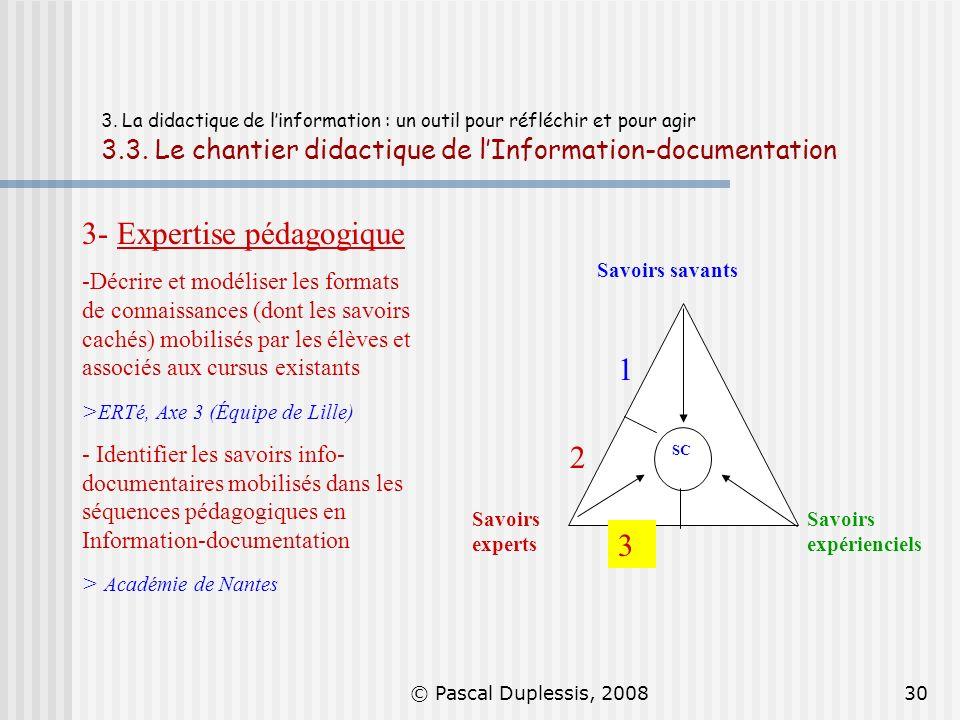 © Pascal Duplessis, 200830 3. La didactique de linformation : un outil pour réfléchir et pour agir 3.3. Le chantier didactique de lInformation-documen
