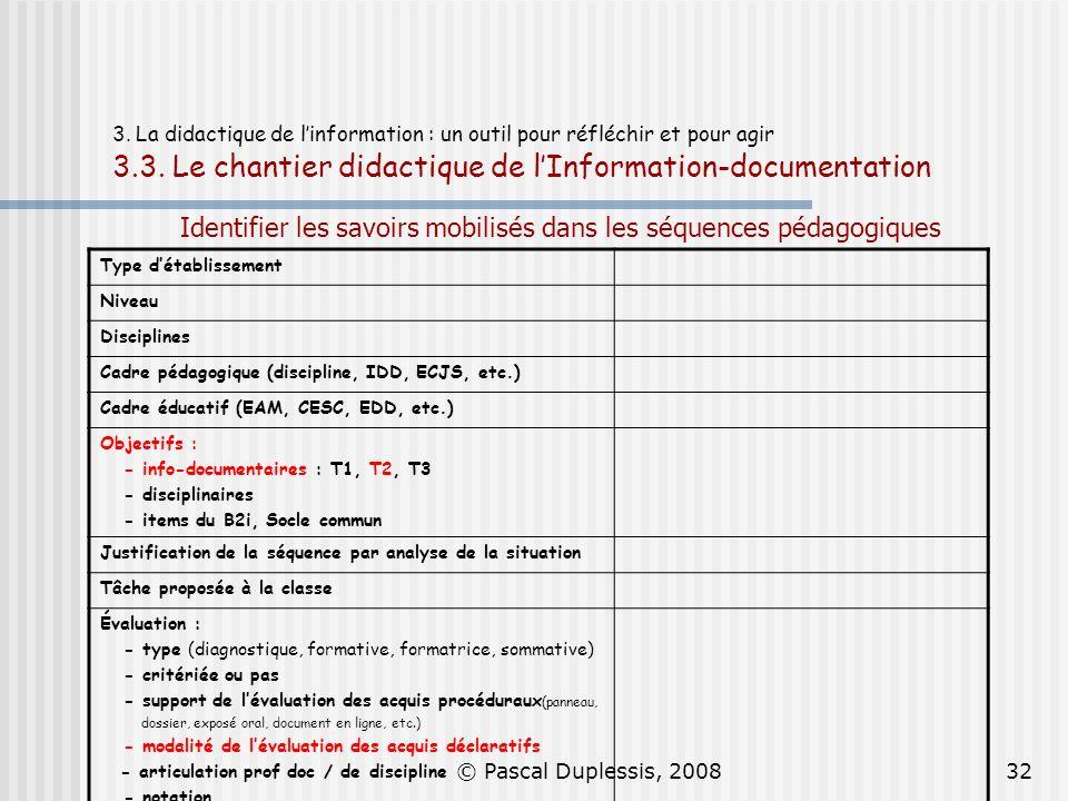 © Pascal Duplessis, 200832 3. La didactique de linformation : un outil pour réfléchir et pour agir 3.3. Le chantier didactique de lInformation-documen