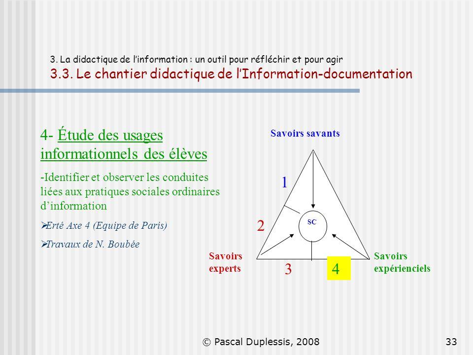 © Pascal Duplessis, 200833 3. La didactique de linformation : un outil pour réfléchir et pour agir 3.3. Le chantier didactique de lInformation-documen