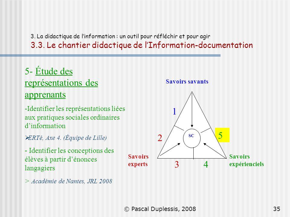 © Pascal Duplessis, 200835 3. La didactique de linformation : un outil pour réfléchir et pour agir 3.3. Le chantier didactique de lInformation-documen