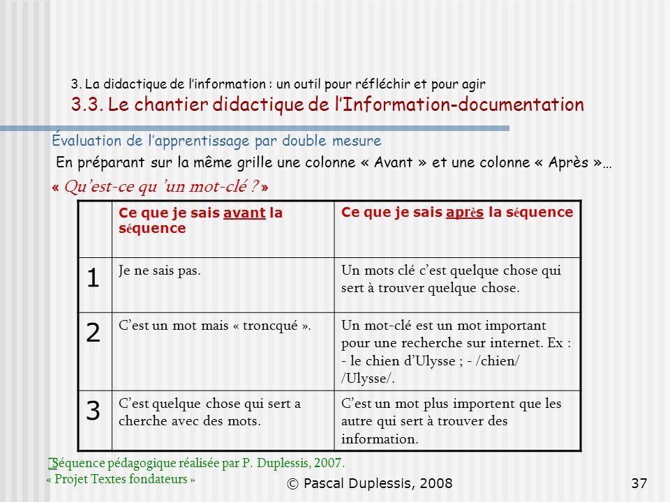 © Pascal Duplessis, 200837 3. La didactique de linformation : un outil pour réfléchir et pour agir 3.3. Le chantier didactique de lInformation-documen