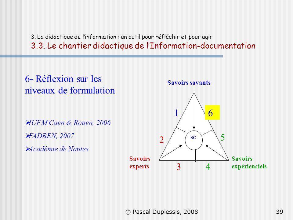© Pascal Duplessis, 200839 3. La didactique de linformation : un outil pour réfléchir et pour agir 3.3. Le chantier didactique de lInformation-documen