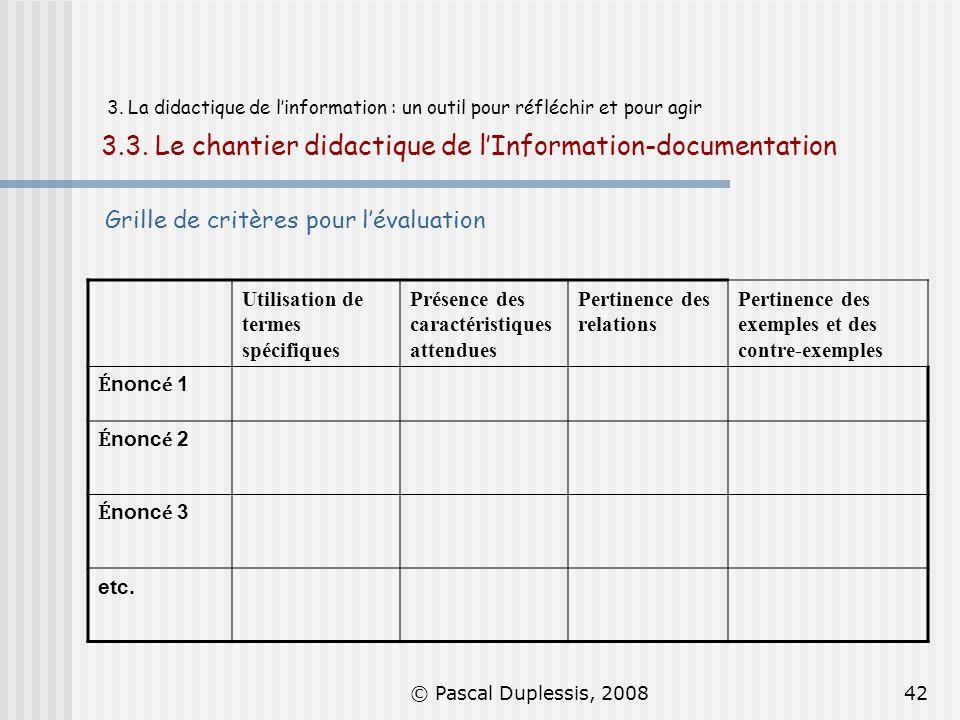 © Pascal Duplessis, 200842 3. La didactique de linformation : un outil pour réfléchir et pour agir 3.3. Le chantier didactique de lInformation-documen