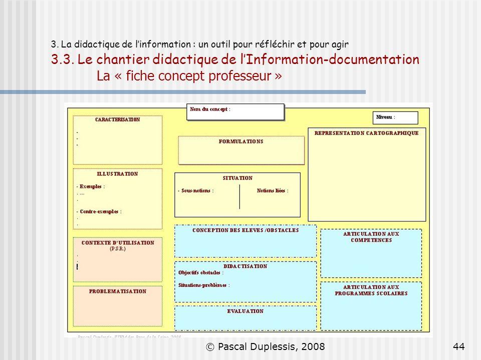 © Pascal Duplessis, 200844 3. La didactique de linformation : un outil pour réfléchir et pour agir 3.3. Le chantier didactique de lInformation-documen