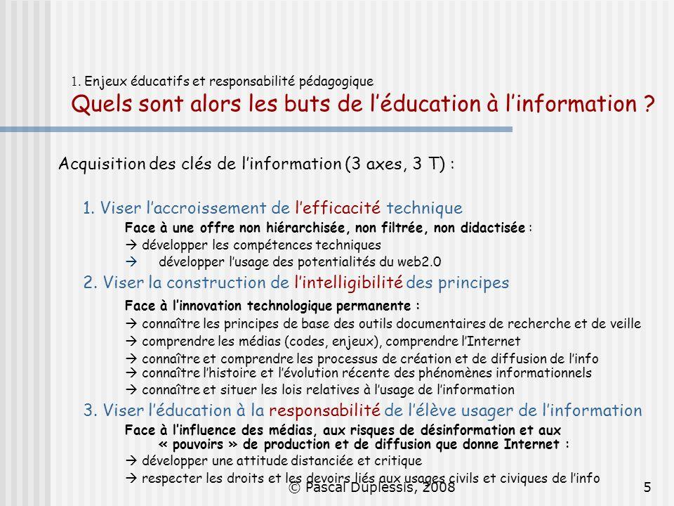 © Pascal Duplessis, 20085 1. Enjeux éducatifs et responsabilité pédagogique Quels sont alors les buts de léducation à linformation ? Acquisition des c