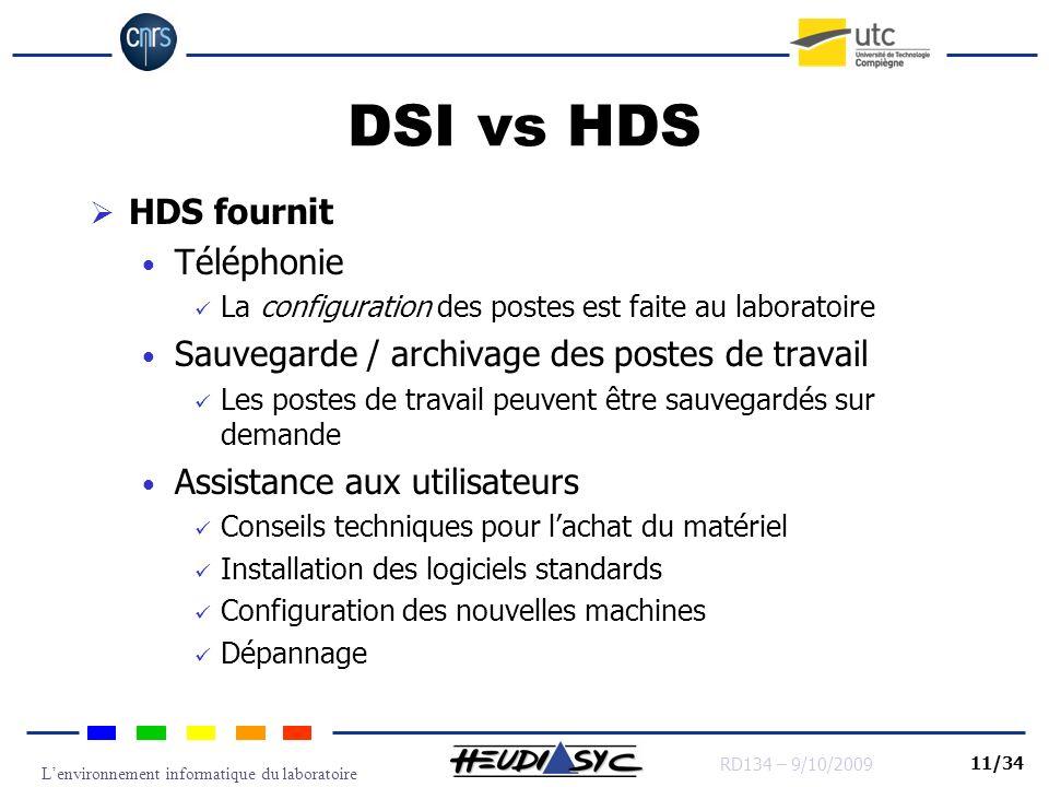 Lenvironnement informatique du laboratoire RD134 – 9/10/2009 11/34 DSI vs HDS HDS fournit Téléphonie La configuration des postes est faite au laborato