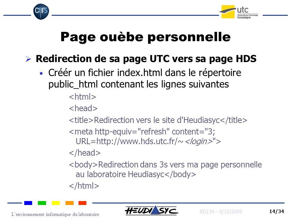 Lenvironnement informatique du laboratoire RD134 – 9/10/2009 14/34 Page ouèbe personnelle Redirection de sa page UTC vers sa page HDS Créér un fichier
