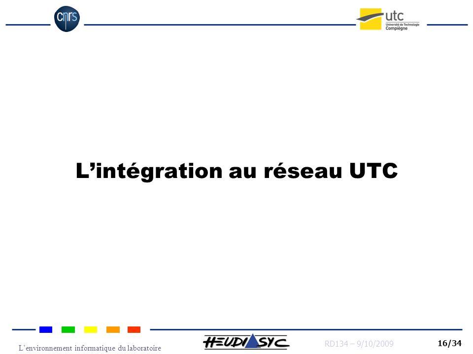 Lenvironnement informatique du laboratoire RD134 – 9/10/2009 16/34 Lintégration au réseau UTC