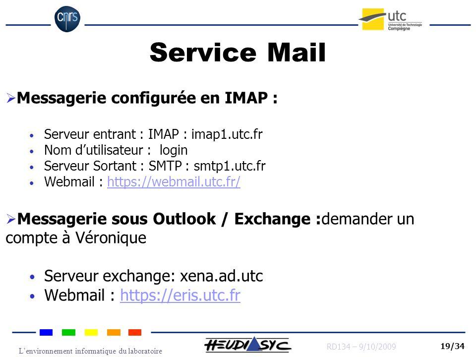 Lenvironnement informatique du laboratoire RD134 – 9/10/2009 19/34 Service Mail Messagerie configurée en IMAP : Serveur entrant : IMAP : imap1.utc.fr