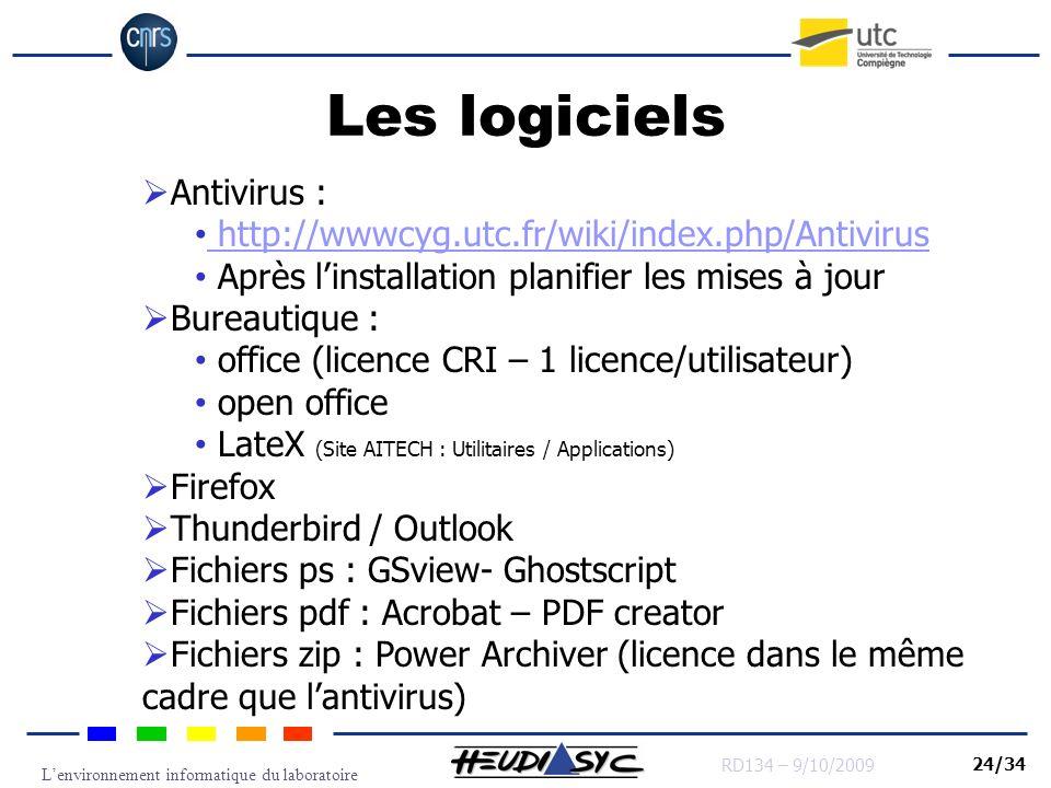 Lenvironnement informatique du laboratoire RD134 – 9/10/2009 24/34 Les logiciels Antivirus : http://wwwcyg.utc.fr/wiki/index.php/Antivirus Après linst