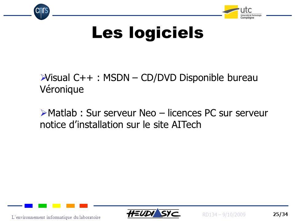 Lenvironnement informatique du laboratoire RD134 – 9/10/2009 25/34 Les logiciels Visual C++ : MSDN – CD/DVD Disponible bureau Véronique Matlab : Sur s
