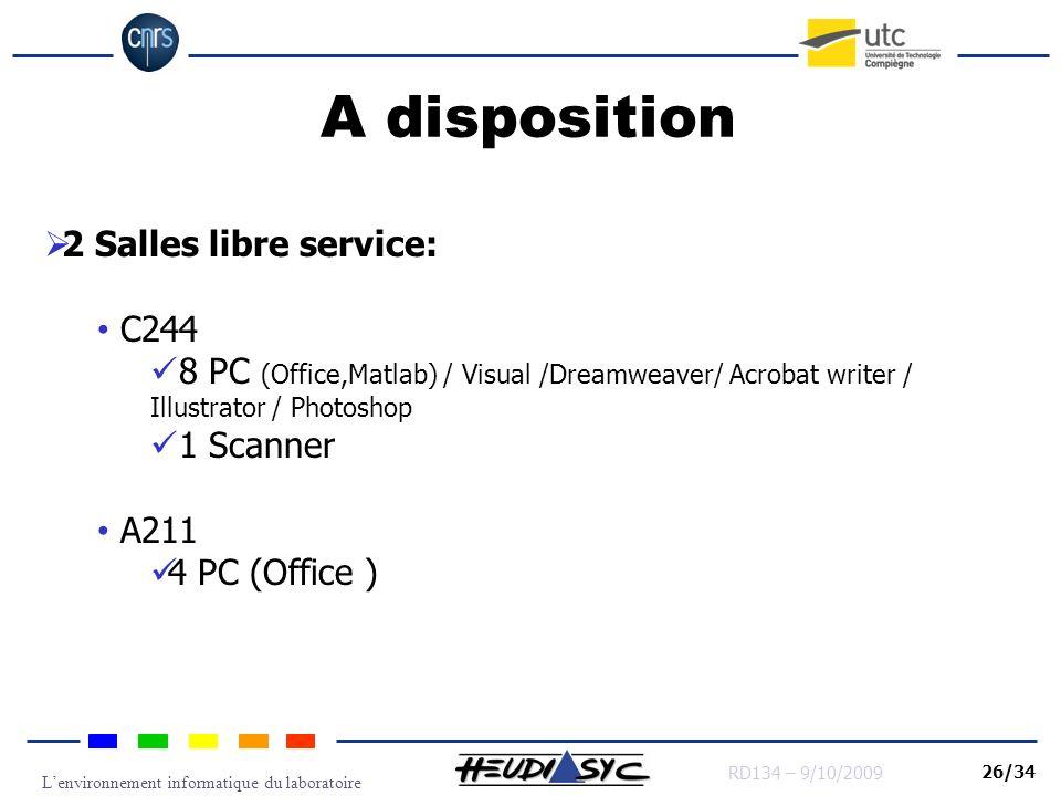 Lenvironnement informatique du laboratoire RD134 – 9/10/2009 26/34 A disposition 2 Salles libre service: C244 8 PC (Office,Matlab) / Visual /Dreamweav