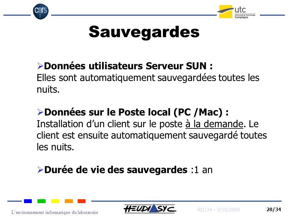 Lenvironnement informatique du laboratoire RD134 – 9/10/2009 28/34 Sauvegardes Données utilisateurs Serveur SUN : Elles sont automatiquement sauvegard