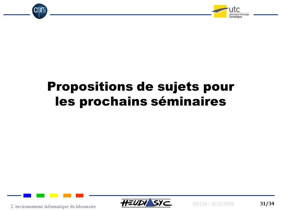Lenvironnement informatique du laboratoire RD134 – 9/10/2009 31/34 Propositions de sujets pour les prochains séminaires