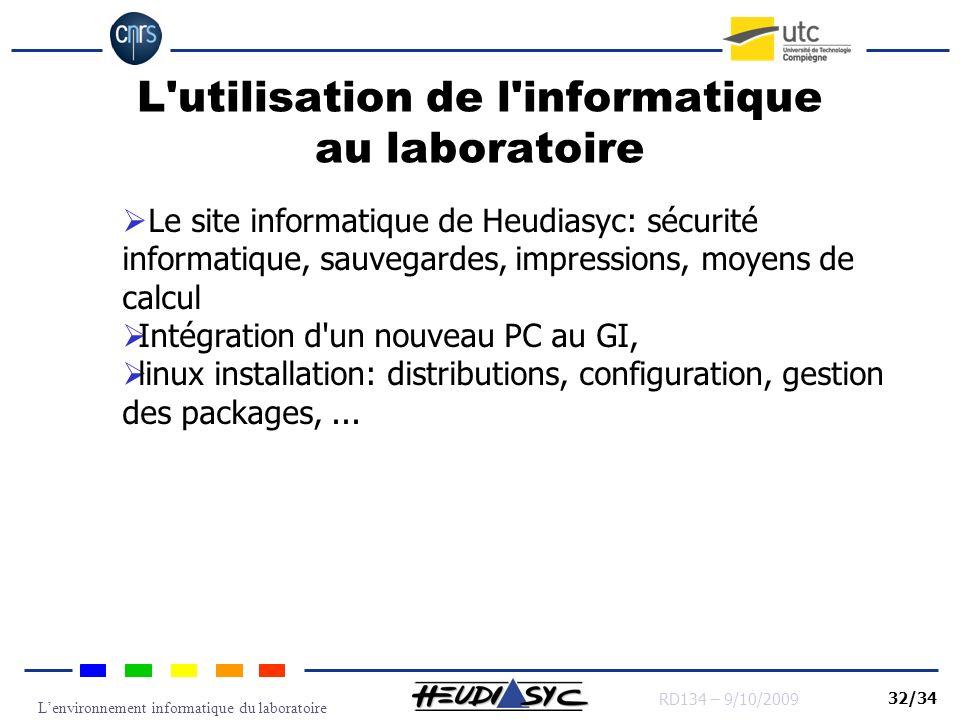 Lenvironnement informatique du laboratoire RD134 – 9/10/2009 32/34 L'utilisation de l'informatique au laboratoire Le site informatique de Heudiasyc: s