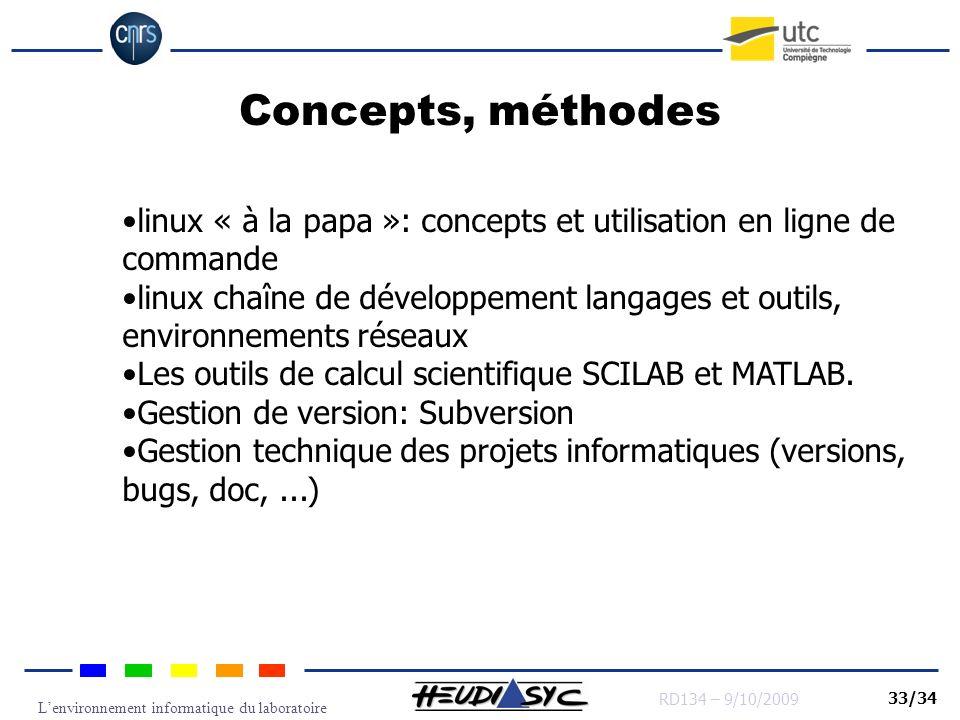 Lenvironnement informatique du laboratoire RD134 – 9/10/2009 33/34 Concepts, méthodes linux « à la papa »: concepts et utilisation en ligne de command