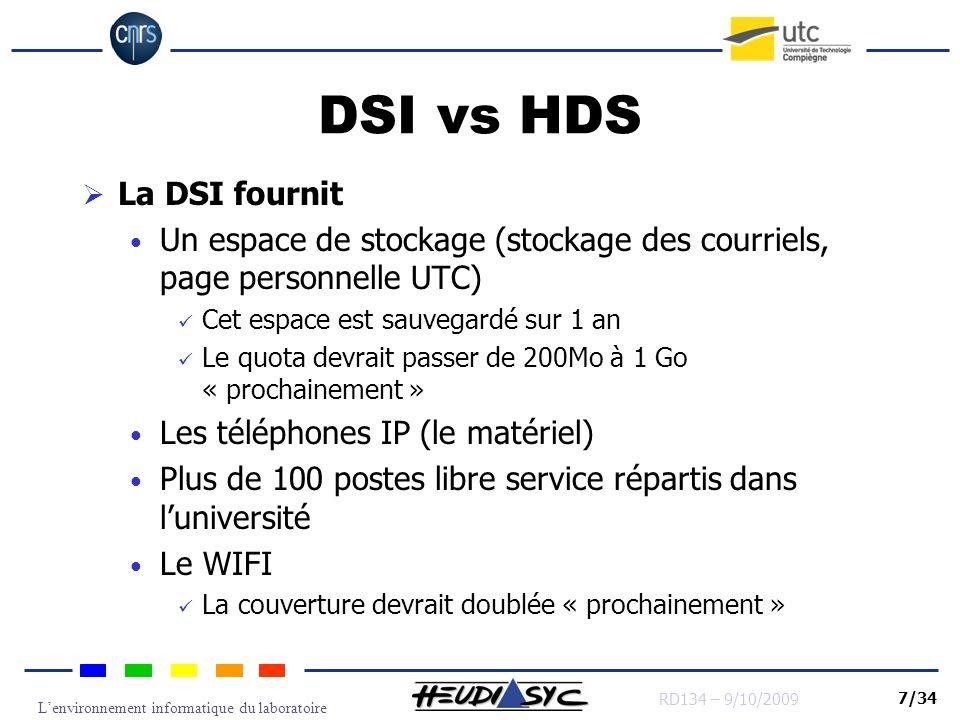 Lenvironnement informatique du laboratoire RD134 – 9/10/2009 7/34 DSI vs HDS La DSI fournit Un espace de stockage (stockage des courriels, page person