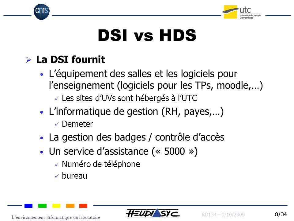 Lenvironnement informatique du laboratoire RD134 – 9/10/2009 8/34 DSI vs HDS La DSI fournit Léquipement des salles et les logiciels pour lenseignement