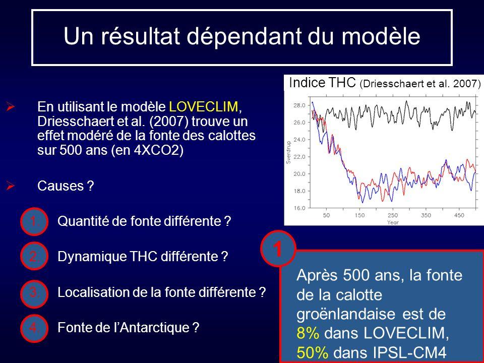 Un résultat dépendant du modèle En utilisant le modèle LOVECLIM, Driesschaert et al. (2007) trouve un effet modéré de la fonte des calottes sur 500 an