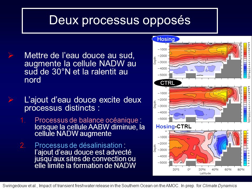Deux processus opposés Mettre de leau douce au sud, augmente la cellule NADW au sud de 30°N et la ralentit au nord Lajout deau douce excite deux processus distincts : Processus de balance océanique : lorsque la cellule AABW diminue, la cellule NADW augmente Processus de désalinisation : lajout deau douce est advecté jusquaux sites de convection ou elle limite la formation de NADW Swingedouw et al., Impact of transient freshwater release in the Southern Ocean on the AMOC.