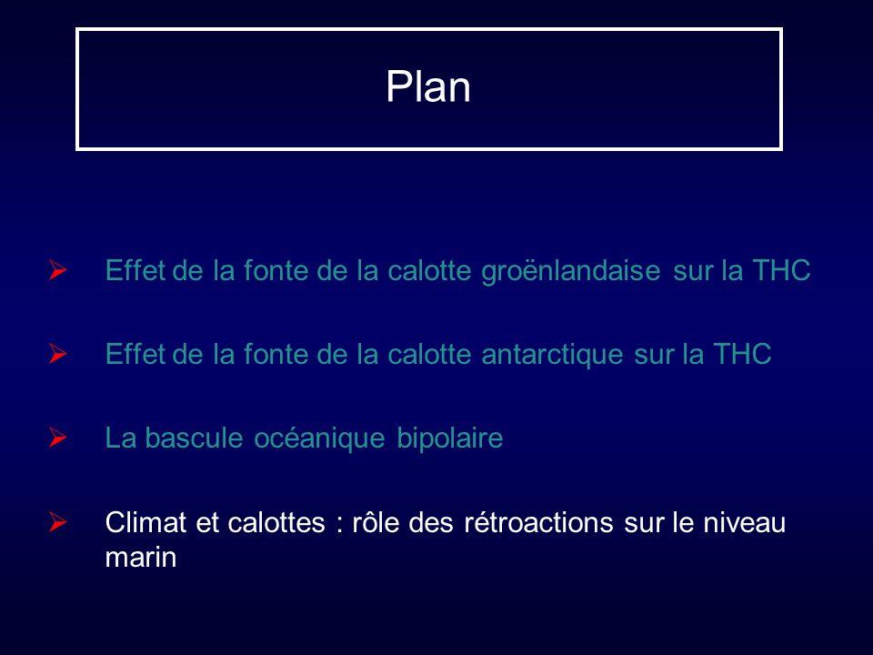Plan Effet de la fonte de la calotte groënlandaise sur la THC Effet de la fonte de la calotte antarctique sur la THC La bascule océanique bipolaire Cl
