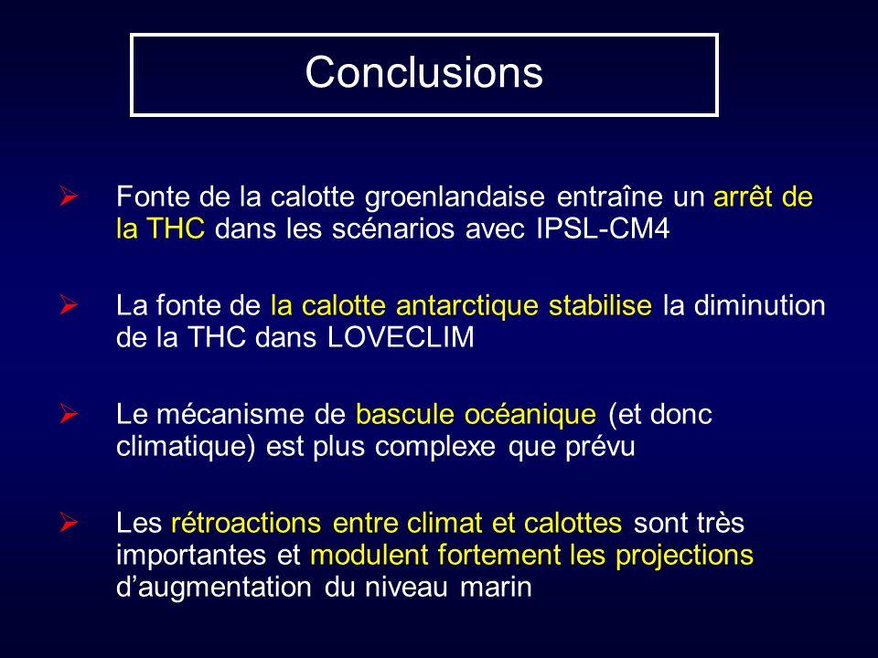 Conclusions Fonte de la calotte groenlandaise entraîne un arrêt de la THC dans les scénarios avec IPSL-CM4 La fonte de la calotte antarctique stabilis