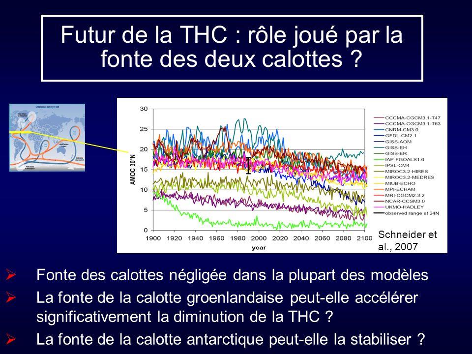 Futur de la THC : rôle joué par la fonte des deux calottes ? Fonte des calottes négligée dans la plupart des modèles La fonte de la calotte groenlanda