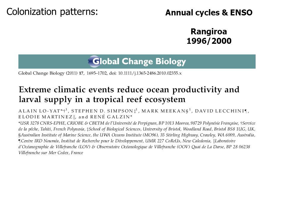 Annual cycles & ENSO Rangiroa 1996/2000 Colonization patterns: