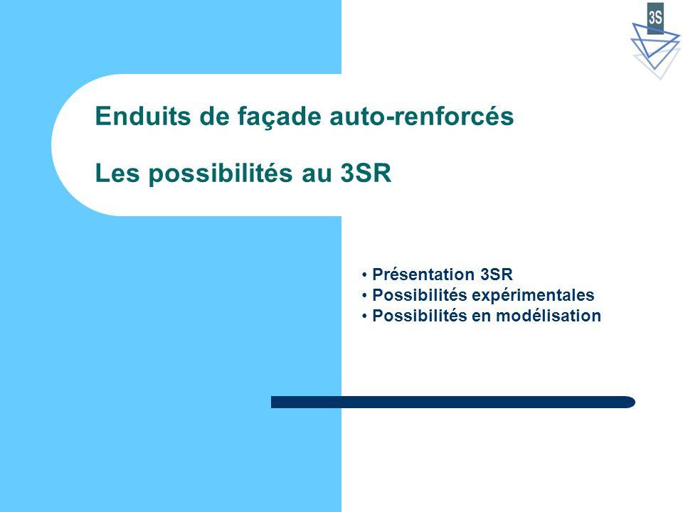 Enduits de façade auto-renforcés Les possibilités au 3SR Présentation 3SR Possibilités expérimentales Possibilités en modélisation