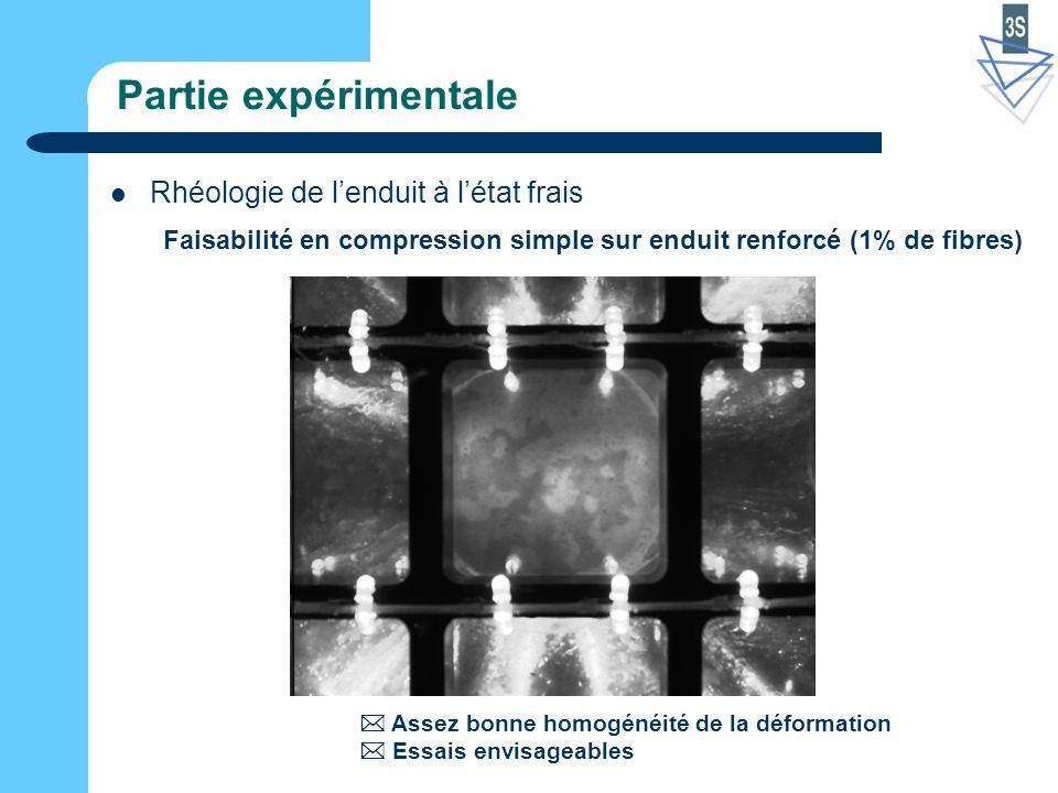 Partie expérimentale Rhéologie de lenduit à létat frais Faisabilité en compression simple sur enduit renforcé (1% de fibres) Assez bonne homogénéité de la déformation Essais envisageables