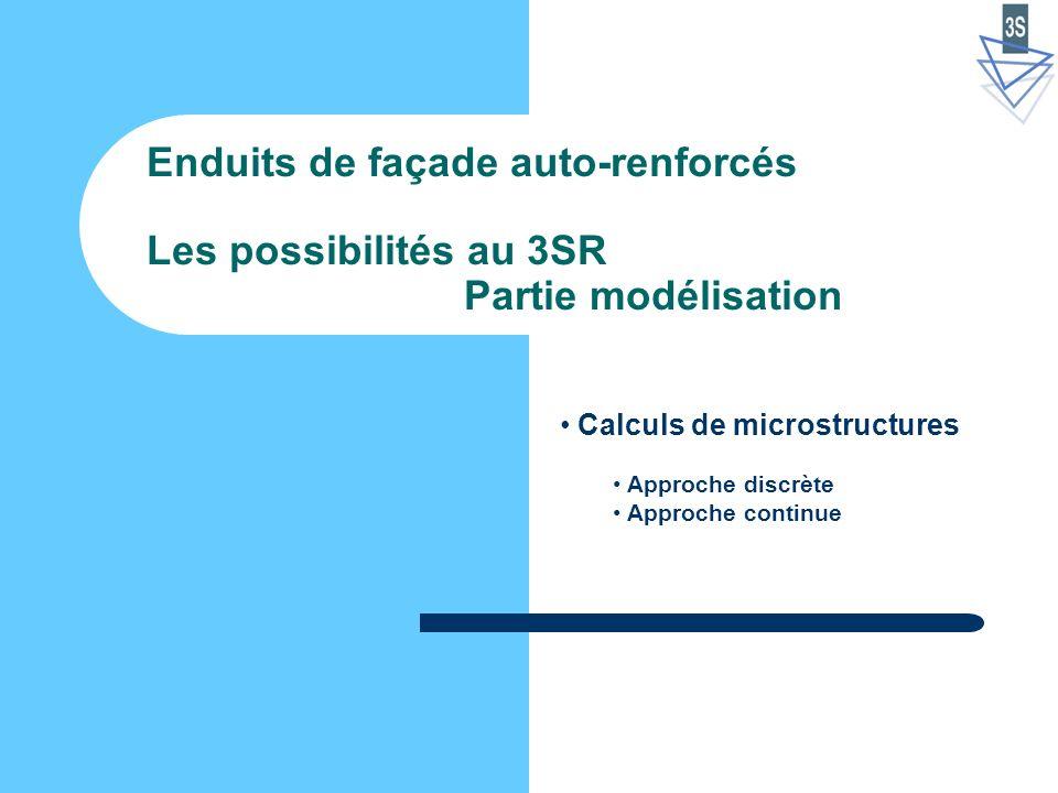 Enduits de façade auto-renforcés Les possibilités au 3SR Partie modélisation Calculs de microstructures Approche discrète Approche continue