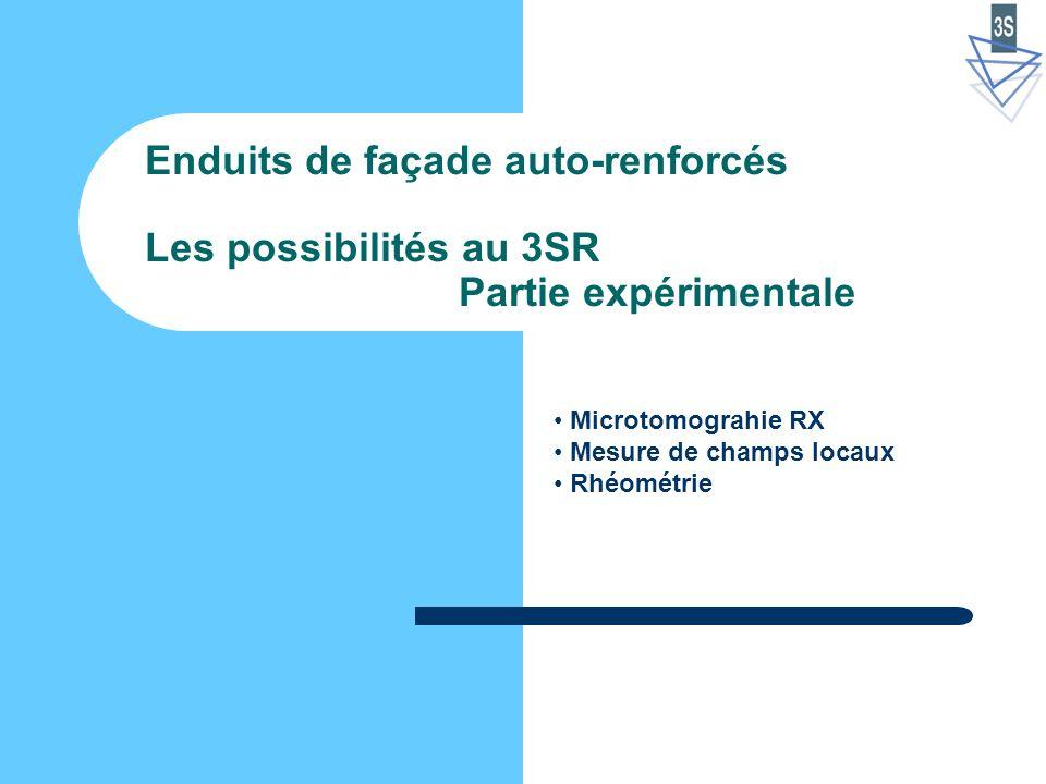 Enduits de façade auto-renforcés Les possibilités au 3SR Partie expérimentale Microtomograhie RX Mesure de champs locaux Rhéométrie