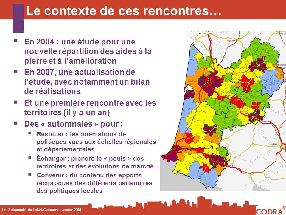 Les Automnales du Lot-et-Garonne novembre 2008 CODA Le contexte de ces rencontres… En 2004 : une étude pour une nouvelle répartition des aides à la pi