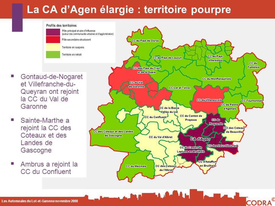 Les Automnales du Lot-et-Garonne novembre 2008 CODA La CA dAgen élargie : territoire pourpre Gontaud-de-Nogaret et Villefranche-du- Queyran ont rejoint la CC du Val de Garonne Sainte-Marthe a rejoint la CC des Coteaux et des Landes de Gascogne Ambrus a rejoint la CC du Confluent