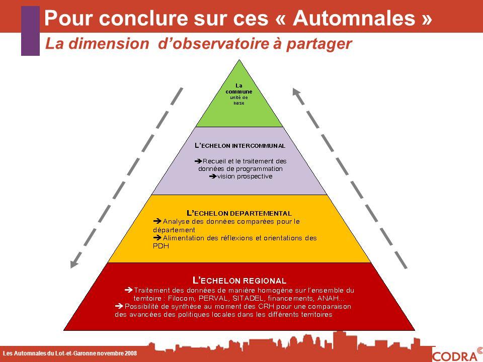 Les Automnales du Lot-et-Garonne novembre 2008 CODA Pour conclure sur ces « Automnales » La dimension dobservatoire à partager