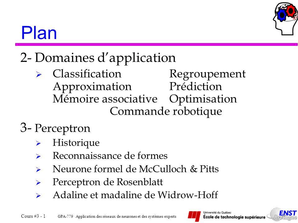GPA-779 Application des réseaux de neurones et des systèmes experts Cours #3 - 1 Plan 2- Domaines dapplication ClassificationRegroupement Approximatio