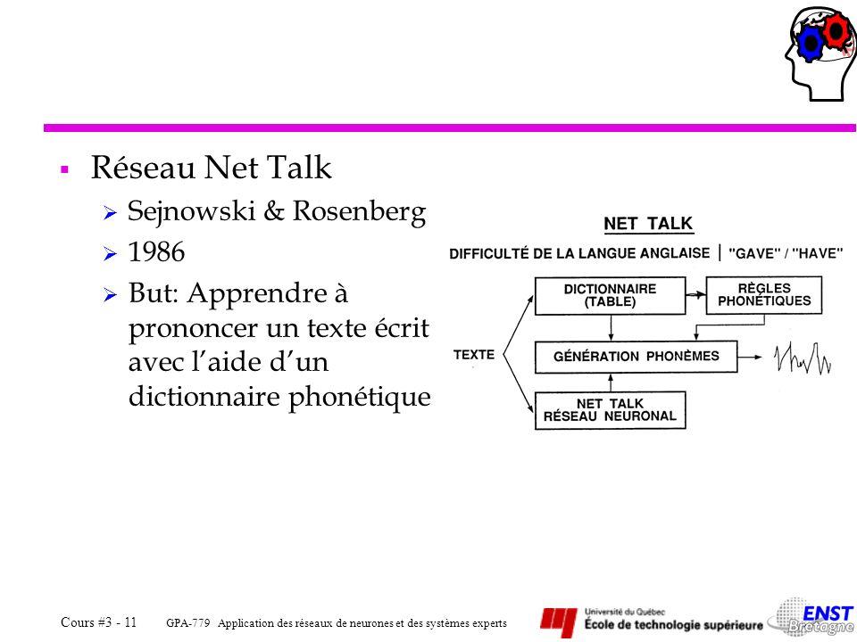 GPA-779 Application des réseaux de neurones et des systèmes experts Cours #3 - 11 Réseau Net Talk Sejnowski & Rosenberg 1986 But: Apprendre à prononce