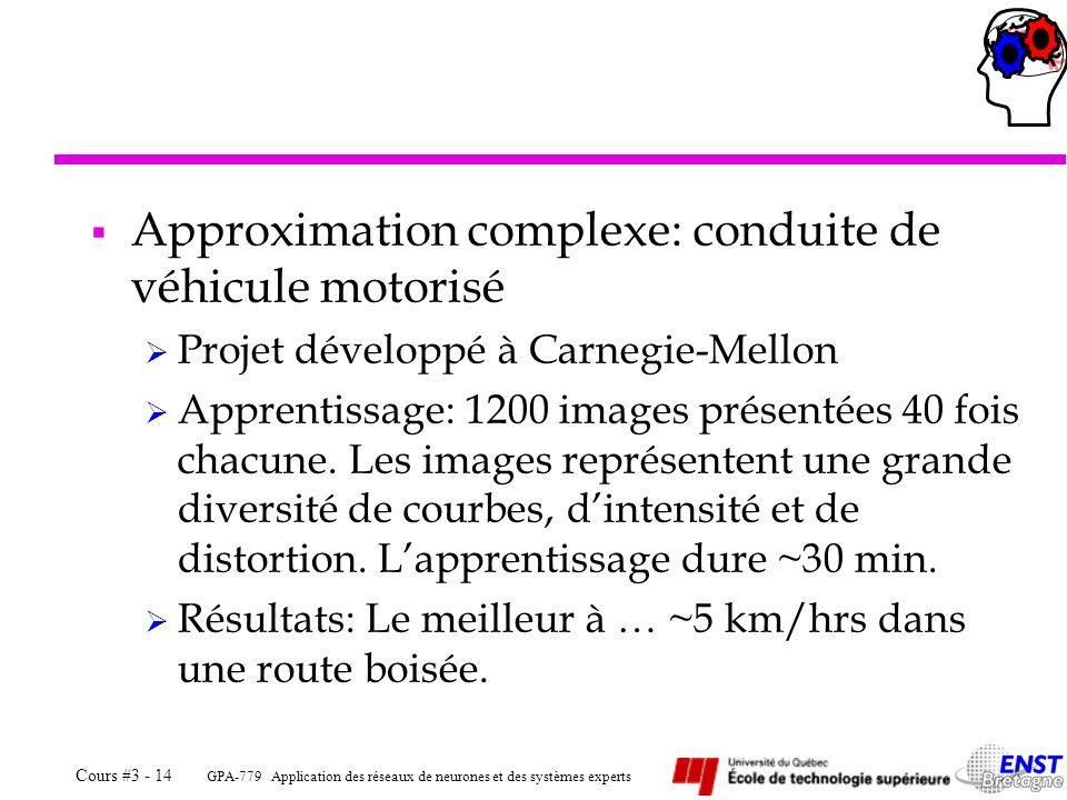 GPA-779 Application des réseaux de neurones et des systèmes experts Cours #3 - 14 Approximation complexe: conduite de véhicule motorisé Projet dévelop