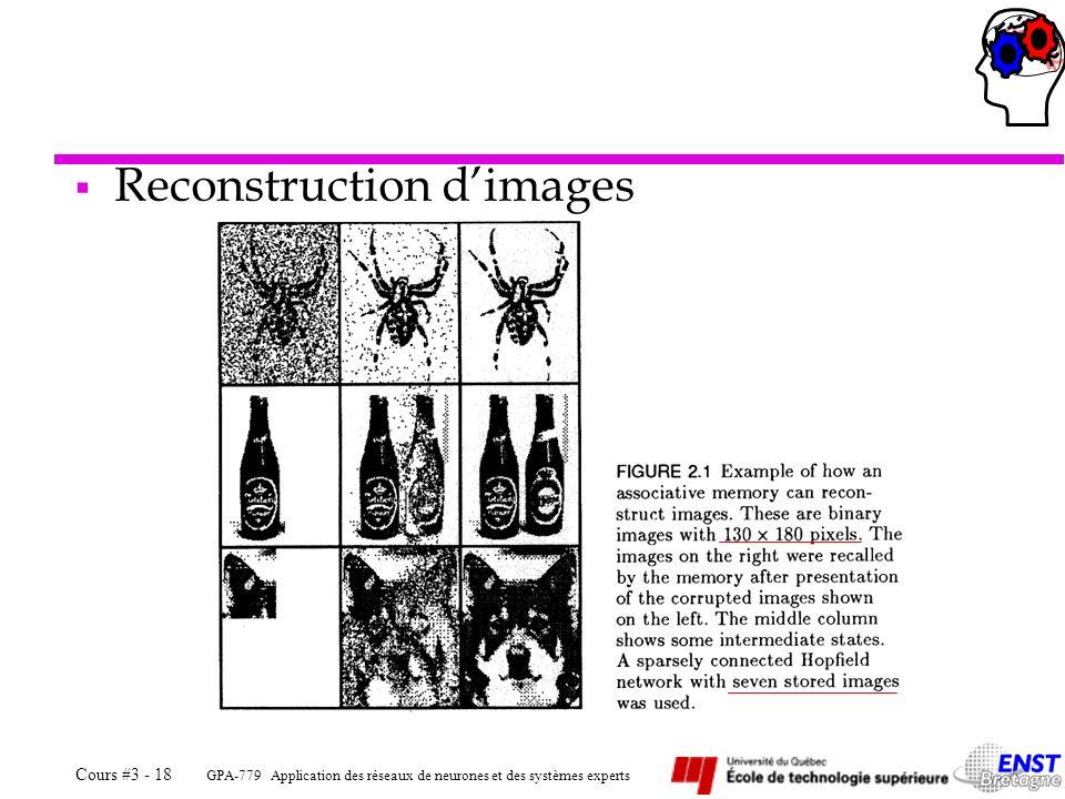 GPA-779 Application des réseaux de neurones et des systèmes experts Cours #3 - 18 Reconstruction dimages