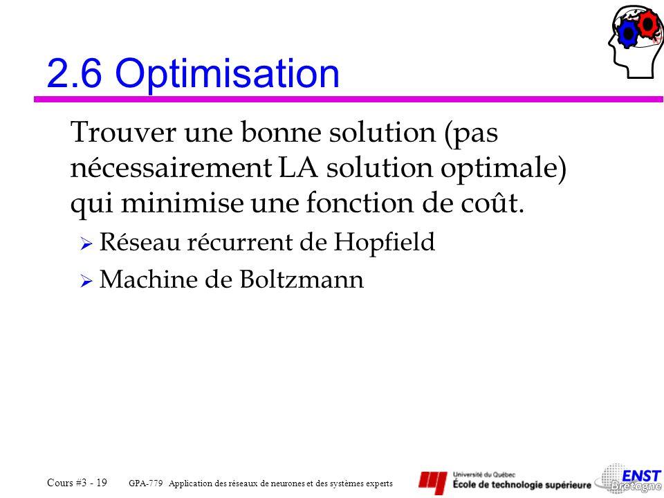 GPA-779 Application des réseaux de neurones et des systèmes experts Cours #3 - 19 2.6 Optimisation Trouver une bonne solution (pas nécessairement LA s