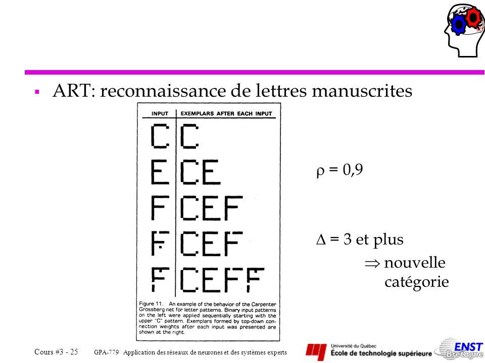 GPA-779 Application des réseaux de neurones et des systèmes experts Cours #3 - 25 ART: reconnaissance de lettres manuscrites = 0,9 = 3 et plus nouvell