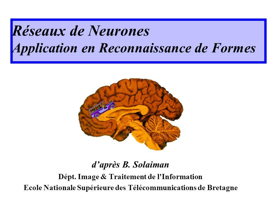 Réseaux de Neurones Application en Reconnaissance de Formes daprès B. Solaiman Dépt. Image & Traitement de l'Information Ecole Nationale Supérieure de